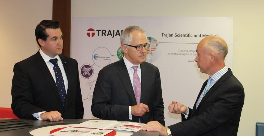 Prime Minister Malcolm Turnbull visits Trajan in Ringwood